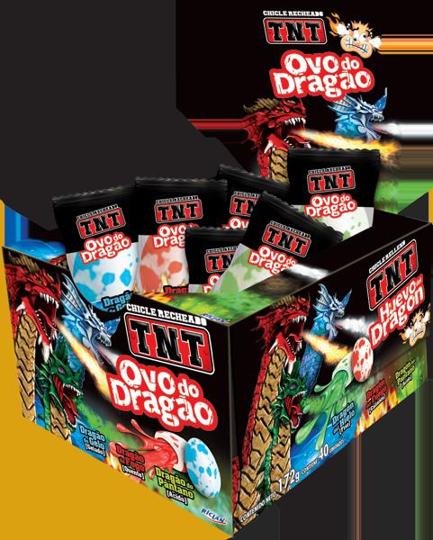 Chicle TNT Ovo de Dragão Dragão de gelo, Dragão de Fogo e Dragão do Pântano