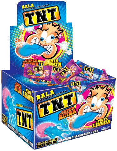 Filled Chewy Candy TNT Tongue Paint Pineapple, grape and raspberry