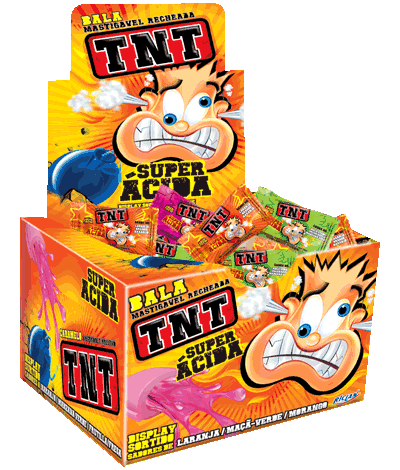 Filled Chewy Candy TNT Sour Orange, green apple and Strawberry
