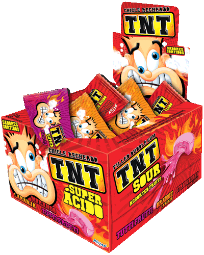 TNT Chewy Gum Sour Tutti-Frutti, Orange and strawberry
